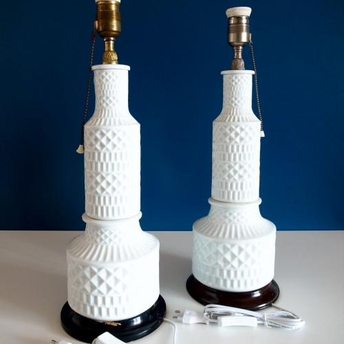"""Juego de lámparas de cerámica de Sargadelos, modelo """"Portomarínico"""" de pie y sobremesa, vintage años 60."""
