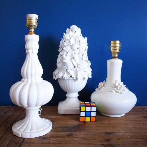 Lámpara de cerámica de Manises, vintage años 50s-60s.