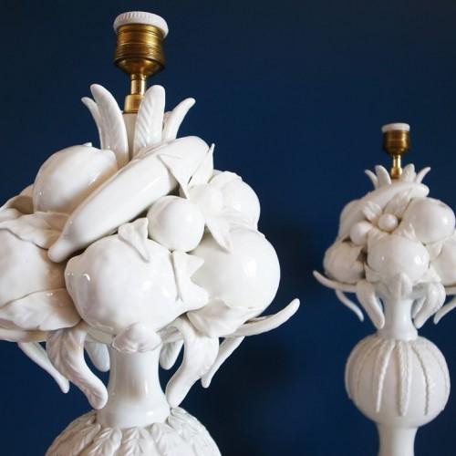 Excelente pareja de lámparas de cerámica de Manises, Bondía, vintage años 50s-60s.