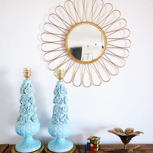 Pareja de lámpara de cerámica de Manises en color azul, vintage años 50-60.