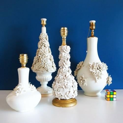 Lámpara de cerámica de Manises color blanco mate. Vintage años 50s-60s.