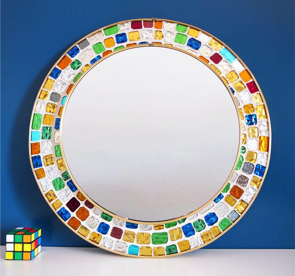Espejo con marco de mosaico teselas de cristal espejado for Espejo marco cristal
