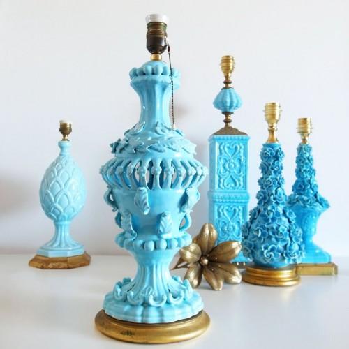 Lámpara vintage de cerámica de Manises. Vintage años 50s-60s.