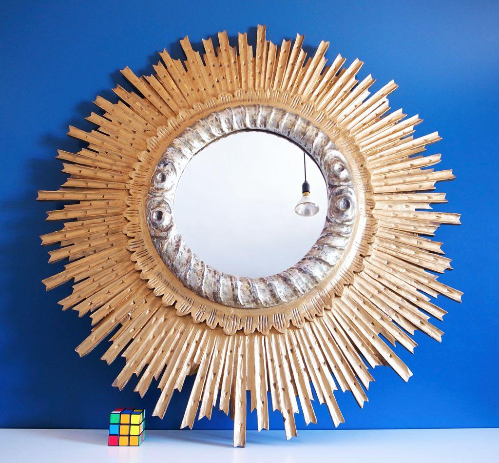 Gran espejo sol de madera dorada y plateada vintage a os 60s - Pintura dorada para madera ...