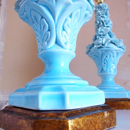 Pareja de lámparas de cerámica de Manises. Vintage 50s-60s.