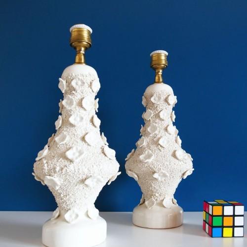 Pareja de lámparas de cerámica de Manises, vintage años 50s-60s.