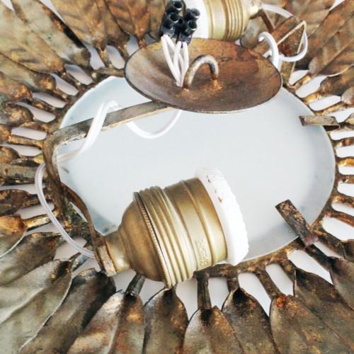 Lámpara sol de forja dorada, vintage años 60.