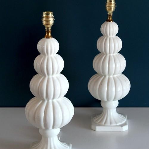 Pareja de lámparas de cerámica de Manises, Vintage 50s-60s.