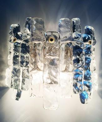 "Aplique de pared ""Iceglass"". J. T. Kalmar, Austria, Vintage años 60."
