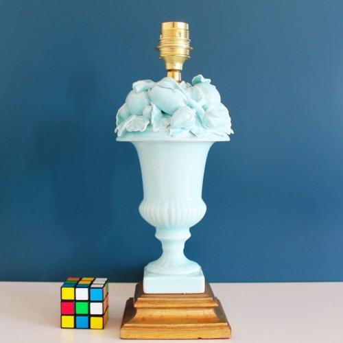 Lámpara de cerámica de Manises, C. Hispania. Copa de frutas. Vintage 50s-60s.
