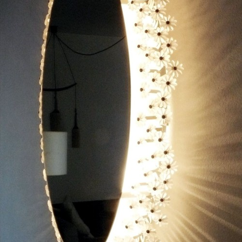 Emil Stejnar. Espejo oval con luz o retroiluminado, diseñado por Emil Stejnar para Rupert Nikoll, vintage original años 50.