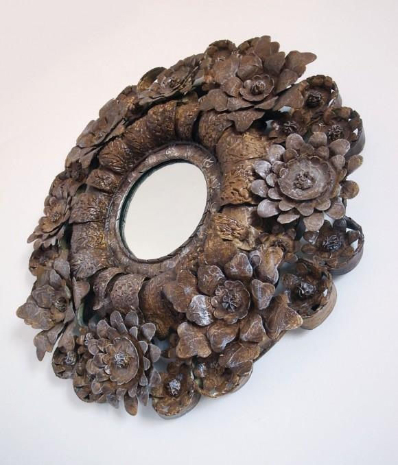 Espejo con marco de flores en acero y papel encerado - Espejo de papel ...