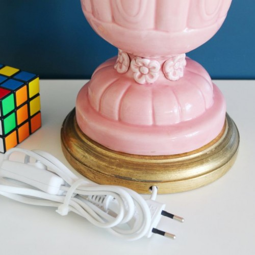 Lámpara de cerámica rosa de Manises, Vintage 50s-60s.
