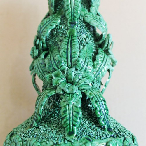 Lámpara de cerámica verde de Manises, Vintage 50s-60s.