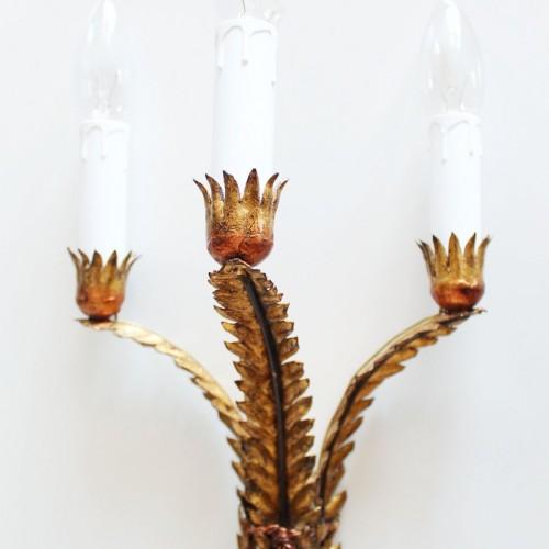 Apliques en forja dorada al pan de oro. Ramas y hojas. Vintage 50s-60s.