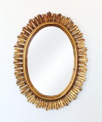 Gran espejo sol de madera, tallado a mano. Pan de oro. Vintage años 50-60.
