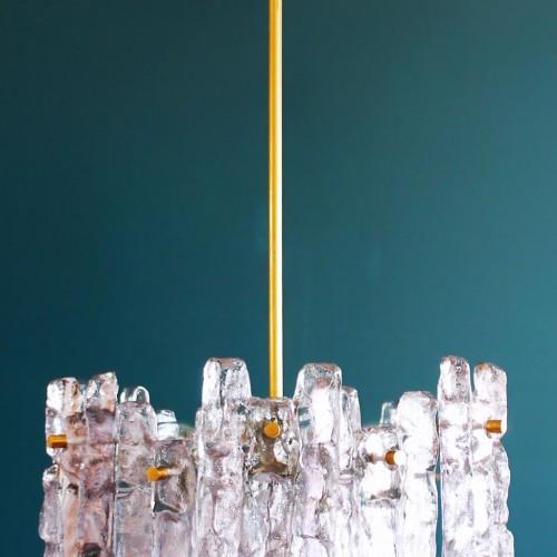 """J.T. KALMAR FRANKEN espectacular lámpara de techo """"Ice-glass"""". Austria. Vintage años 60s."""