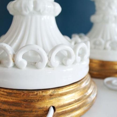 Excelente pareja de lámparas de cerámica de Manises. Vintage años 50s-60s.