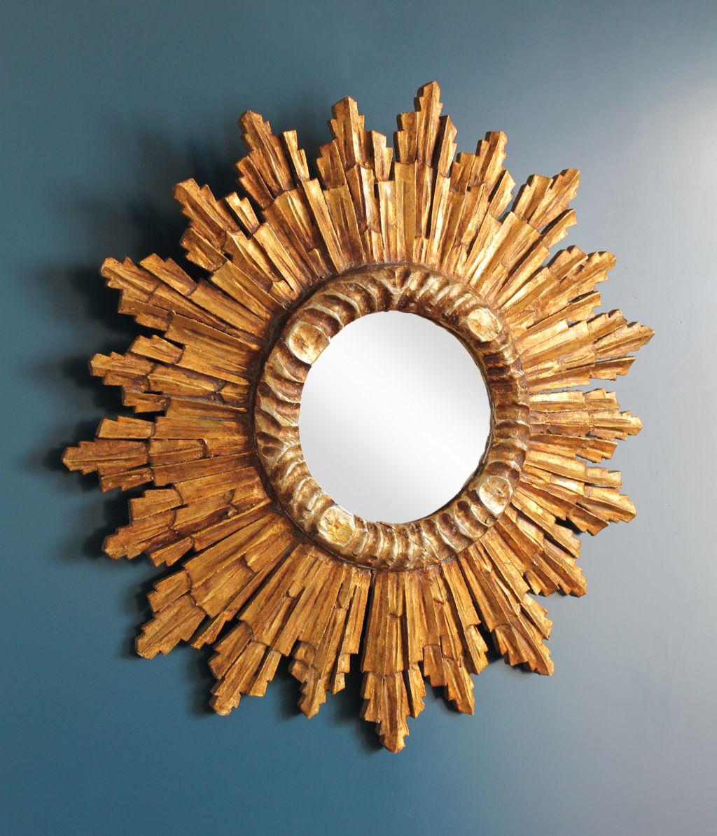 Espejo sol de madera tallada y dorada al pan de oro vintage a os 60 - Espejos de sol ...