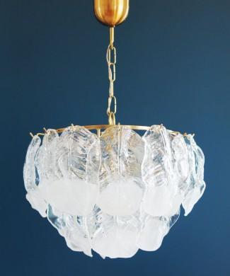 Mazzega Murano - Lámpara de techo con hojas de cristal, vintage años 70s.
