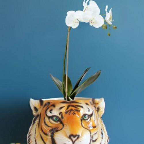 Cabeza de tigre. Macetero, jarrón o florero. Cerámica portuguesa. Vintage 60s.