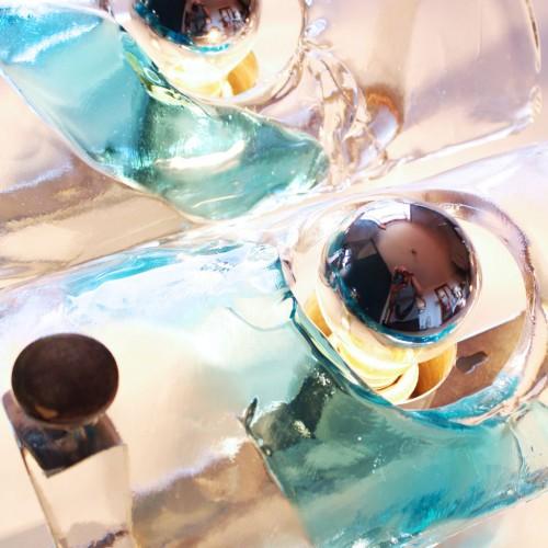 Pareja de grandes apliques VENINI de cristal de Murano, vintage 70s.