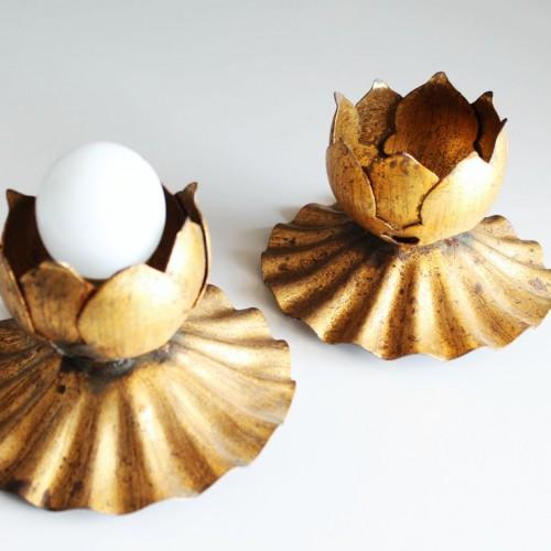 Flores de loto. Apliques de pared o techo en forja dorada al pan de oro. Vintage 60s.