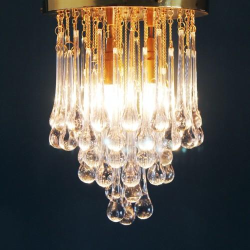 Lámpara de techo de lágrimas de cristal y latón dorado. Vintage años 60s.