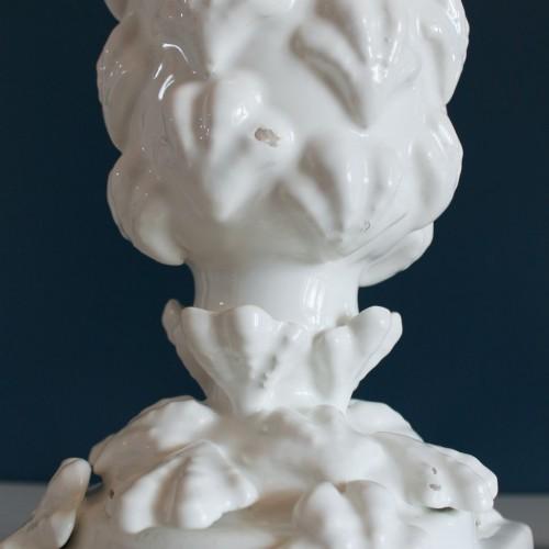 Lámpara de cerámica de Manises con motivos marinos. Vintage años 50s-60s.