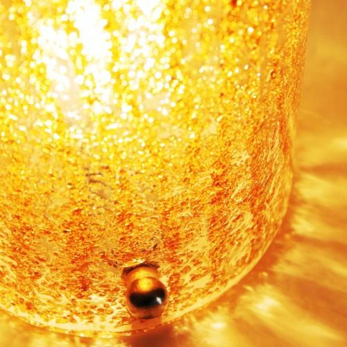 """Lámpara de mesa de cristal """"rugiadoso"""" de Murano, en color ámbar, vintage años 70s."""