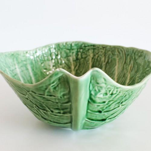 Ensaladera de cerámica portuguesa, hoja de col, vintage.