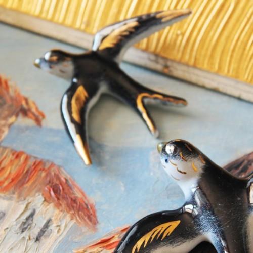 Golondrinas de cerámica, decoración mural, vintage años 50s-60s.
