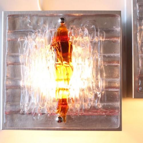 Pareja de apliques de cristal de Murano - Mazzega. Vintage años 70s.