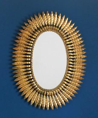 Espejo sol de forja dorada, vintage Mid Century años 60.