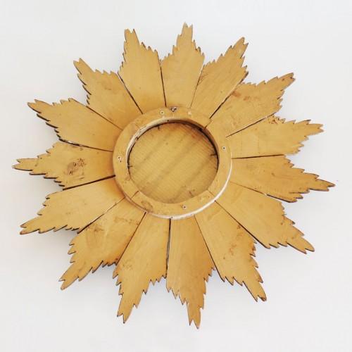 Espejo sol de madera dorada y plateada. Vintage años 60s.