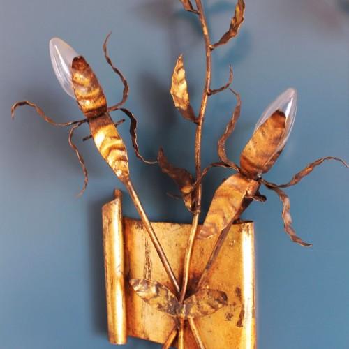 Pareja de apliques de forja dorada al pan de oro - ramas y hojas - vintage años 50s-60s.