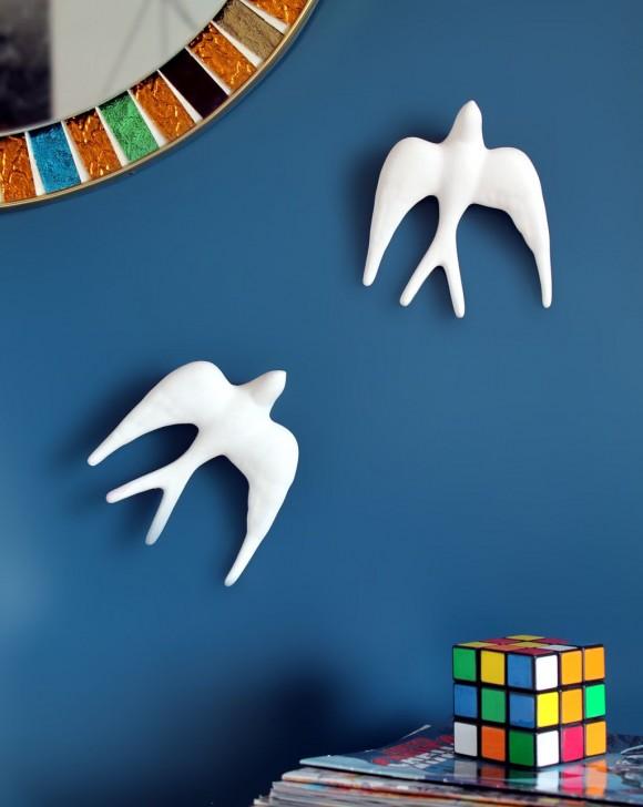 Golondrinas de cerámica blanca, decoración mural, vintage años 50s-60s.