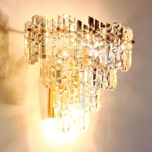 KINKELDEY LEUCHTEN (Alemania) - Gran aplique de pared de cristal tallado. Vintage años 60s-70s.