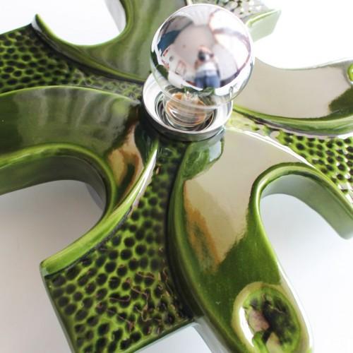 Lámpara o aplique de pared de cerámica verde, vintage 70s.