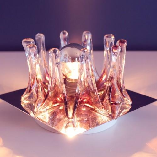 MAZZEGA - MURANO Lámpara o aplique de cristal y acero cromado. Vintage 60s.