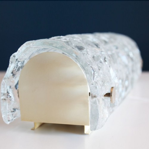 KAISER LEUCHTEN - Aplique de pared, cristal de hielo. Alemania, Vintage 60s.