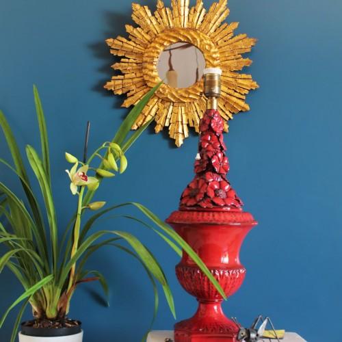 Lámpara de cerámica de Manises. Les Arts. Vintage 50s-60s.