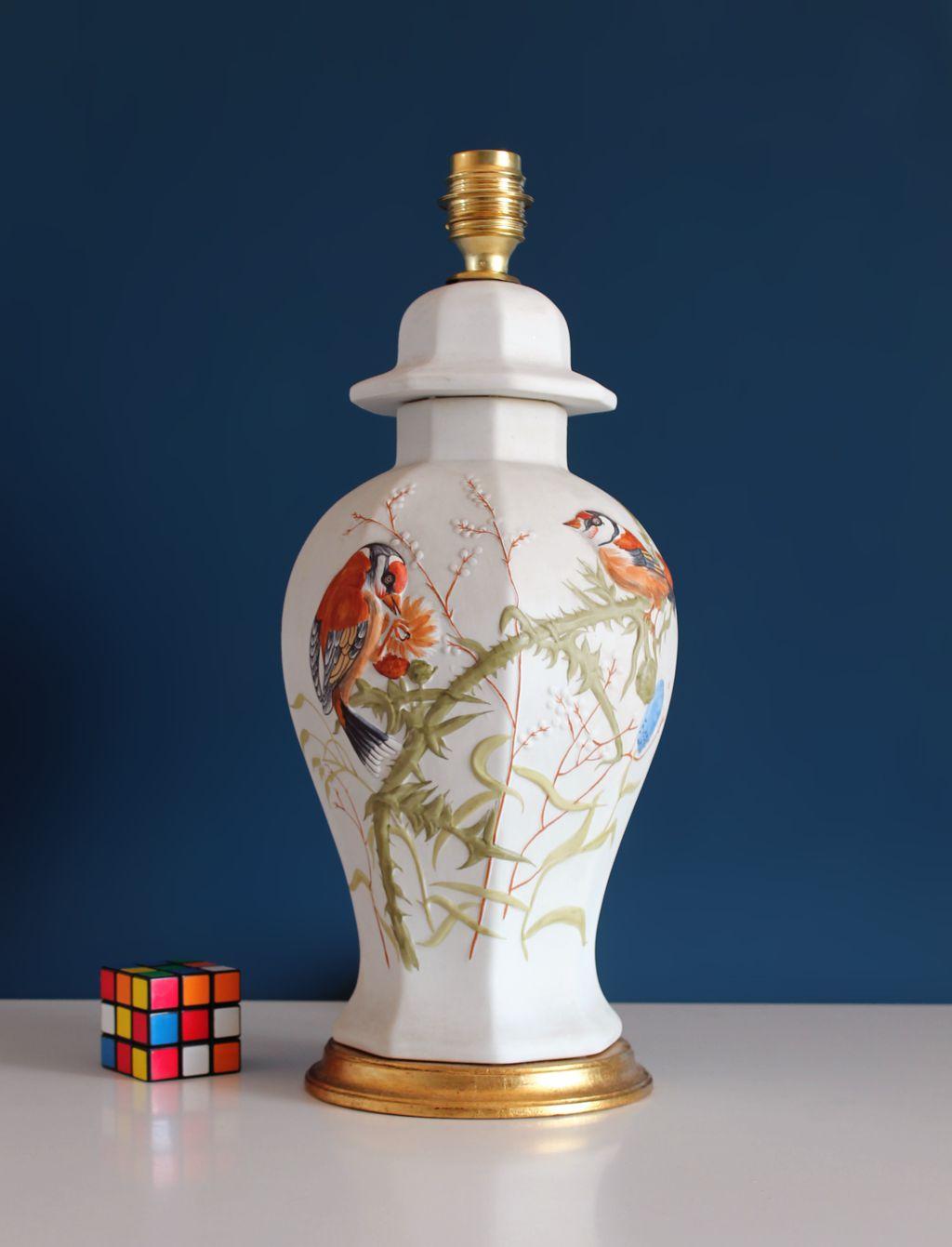 L 225 Mpara De Porcelana Pintada A Mano Jilgueros Y Cardos