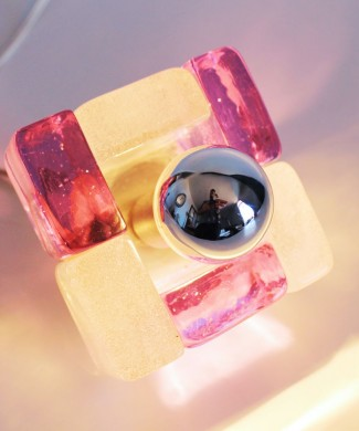 POLIARTE - Angelo Brotto - lámpara de mesa de cristal de Murano - cristal dicroico rosa/azul. Vintage 70s.