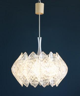 Lámpara de techo de metacrilato y cristal, estilo Kalmar, vintage 70s.
