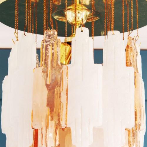 Espectacular lámpara de techo en cristal de Murano atribuida a Mazzega - vintage 70s.