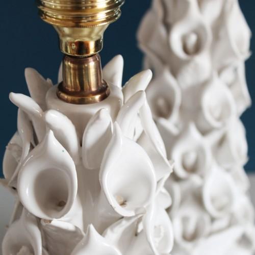Pareja de lámparas de cerámica de Manises (Valencia). Vintage años 50s-60s.
