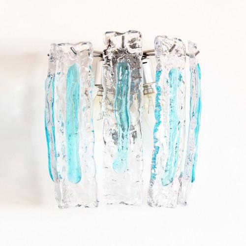 MAZZEGA - VENINI Aplique de pared de cristal de Murano, vintage años 70s.