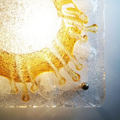 MAZZEGA - MURANO Aplique de pared o lámpara de techo de cristal de Murano, vintage años 60.
