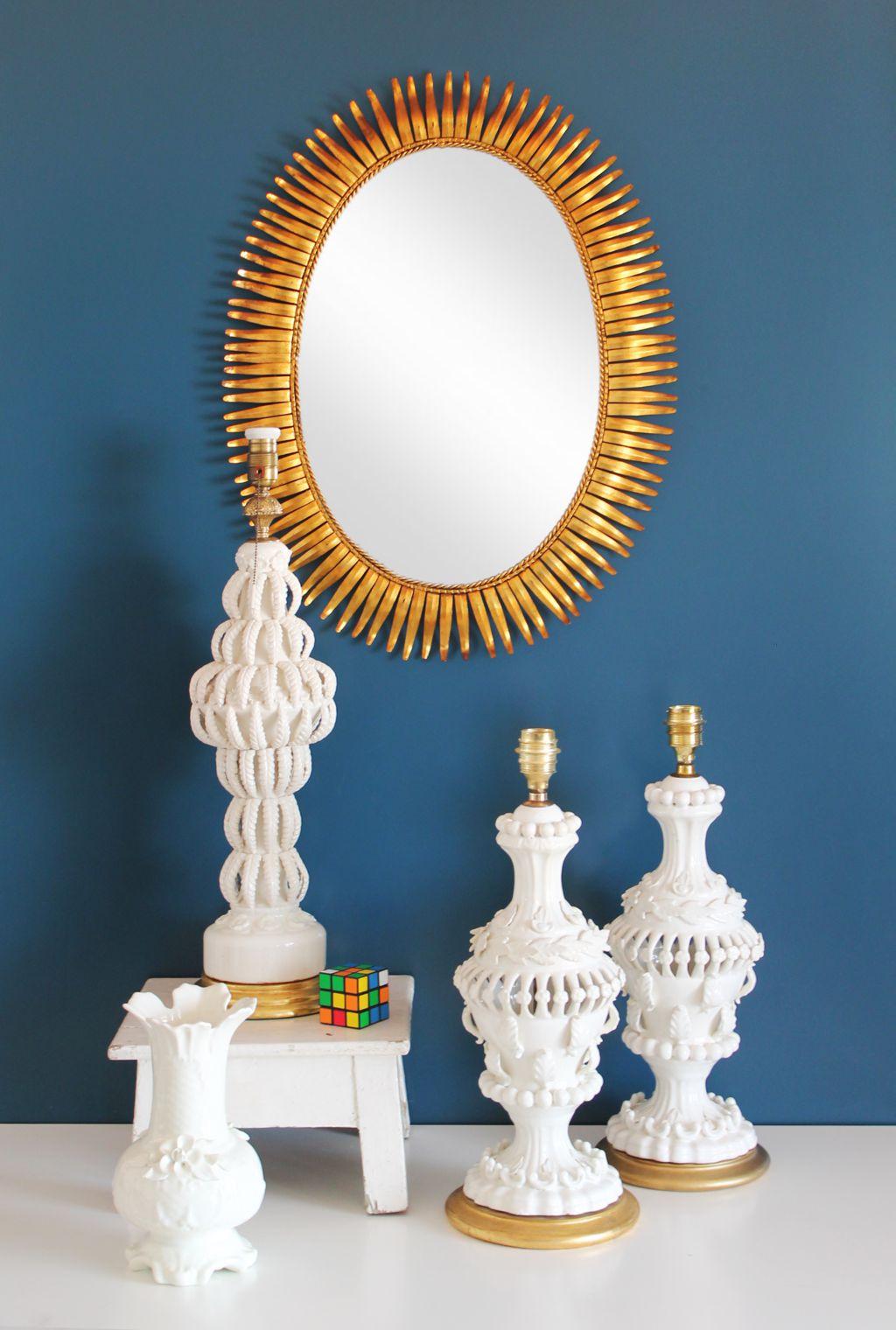 Espejo sol dorado al pan de oro vintage a os 60 - Espejo sol dorado ...